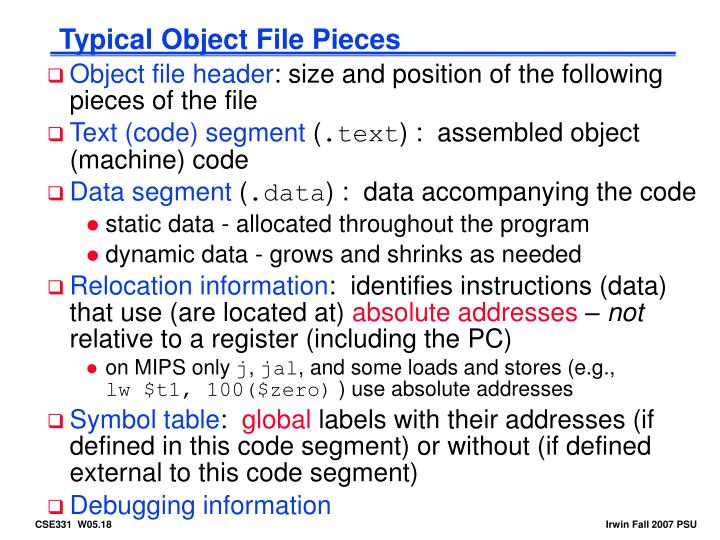 Typical Object File Pieces