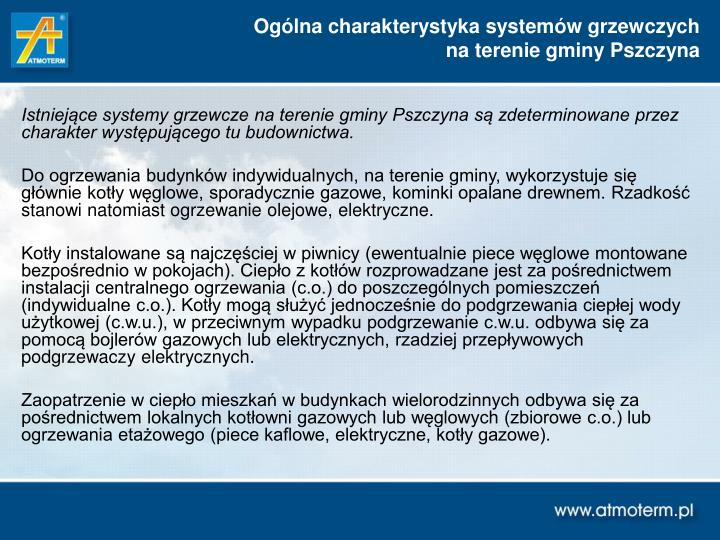 Ogólna charakterystyka systemów grzewczych
