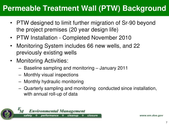 Permeable Treatment Wall (PTW) Background
