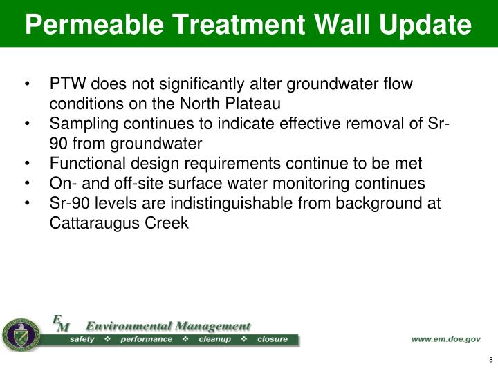 Permeable Treatment Wall Update