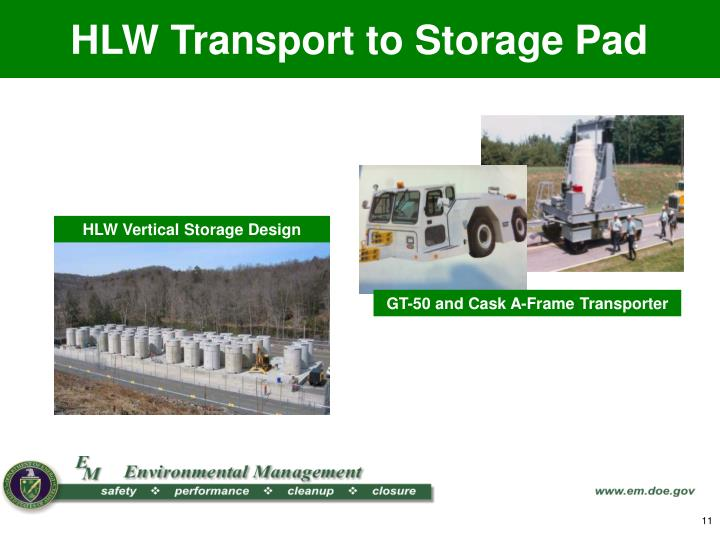 HLW Transport to Storage Pad