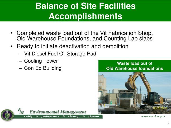 Balance of Site Facilities Accomplishments