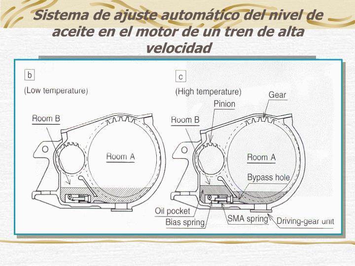 Sistema de ajuste automático del nivel de aceite en el motor de un tren de alta velocidad