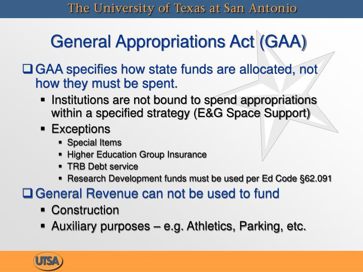 General Appropriations Act (GAA)