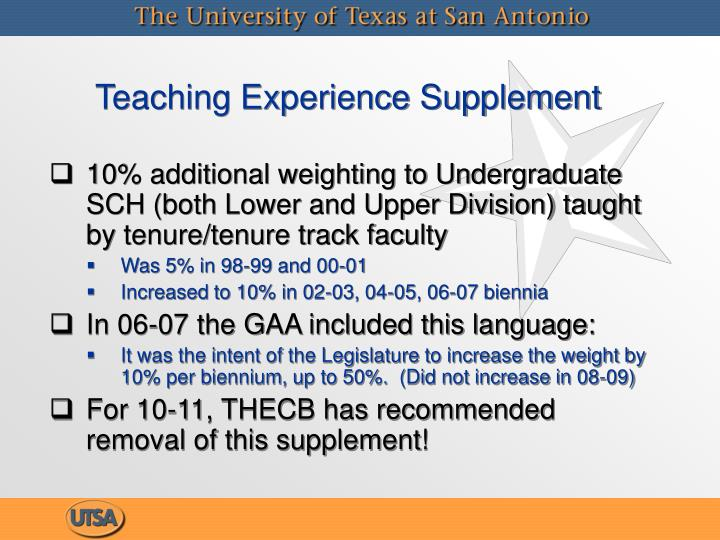 Teaching Experience Supplement