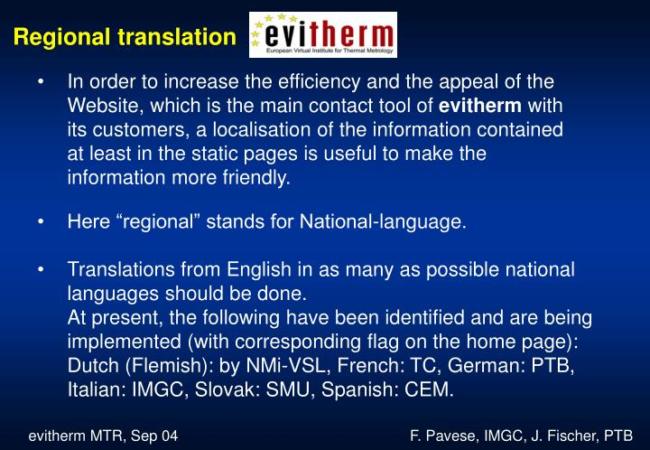 Regional translation