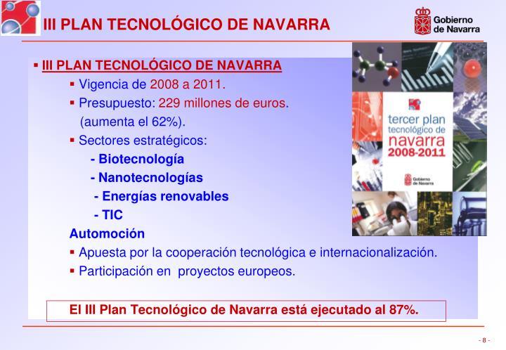 III PLAN TECNOLÓGICO DE NAVARRA