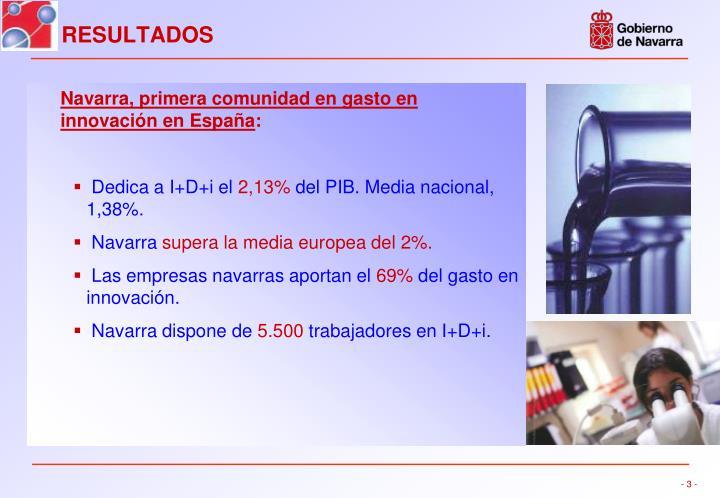 Navarra, primera comunidad en gasto en innovación en España