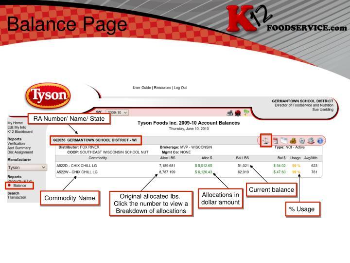 Balance Page