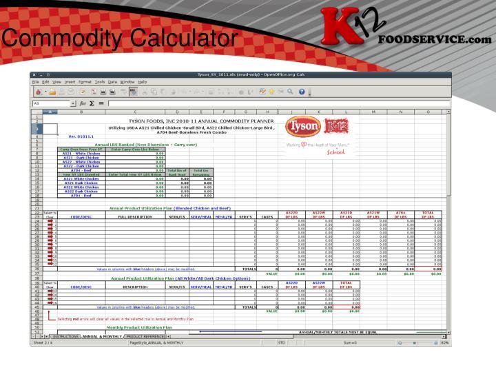 Commodity Calculator