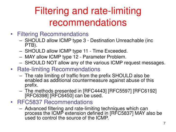 Filtering and rate-limiting recommendations