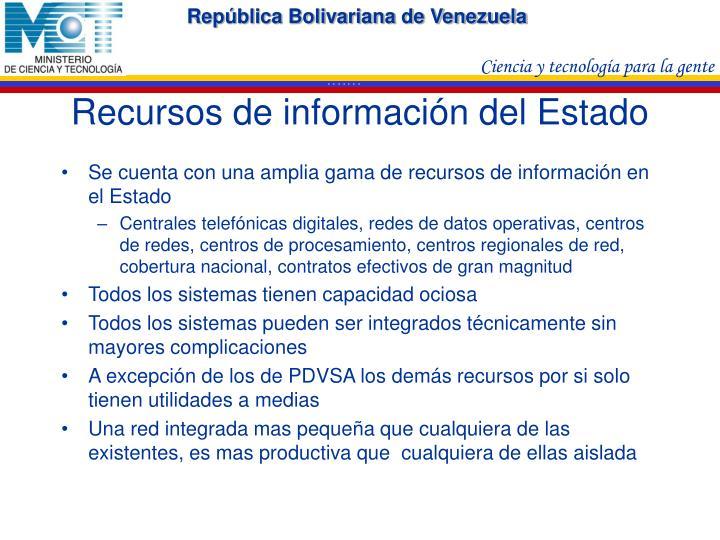 Recursos de información del Estado