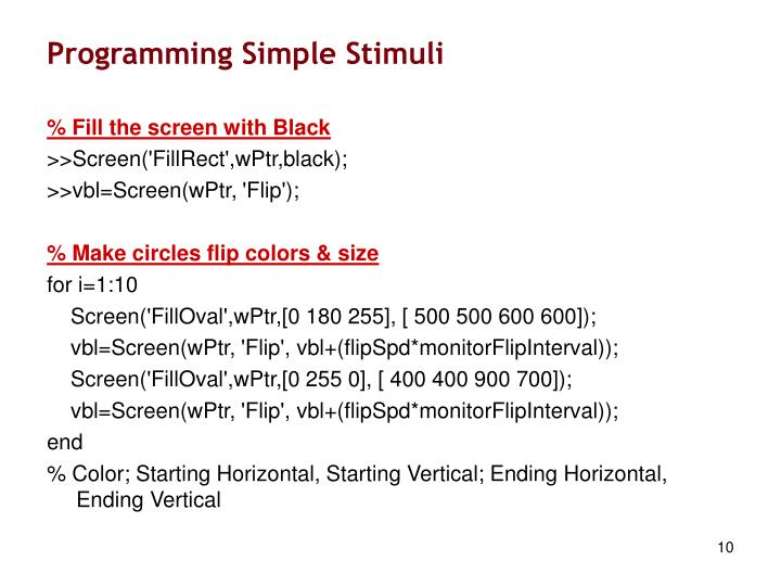 Programming Simple Stimuli