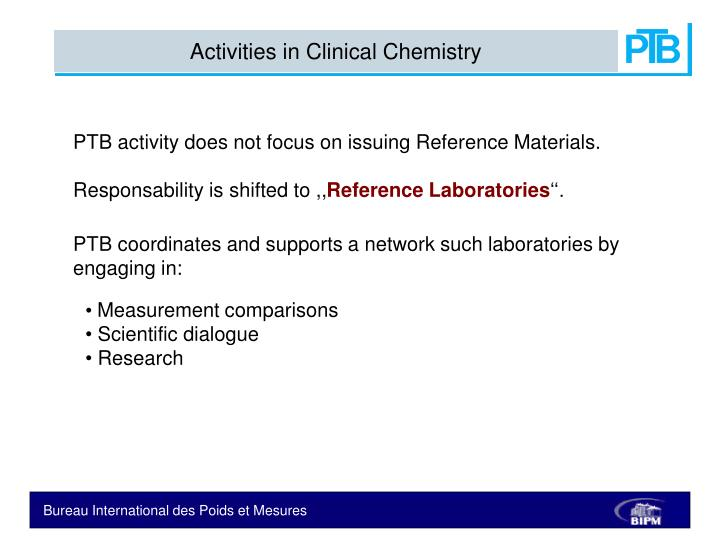 Activities in Clinical Chemistry