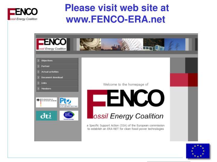 Please visit web site at www.FENCO-ERA.net