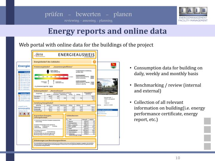 Energy reports and online data