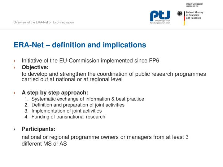 ERA-Net – definition and implications