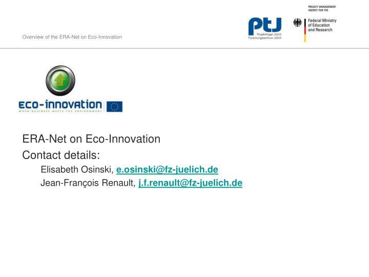 ERA-Net on Eco-Innovation