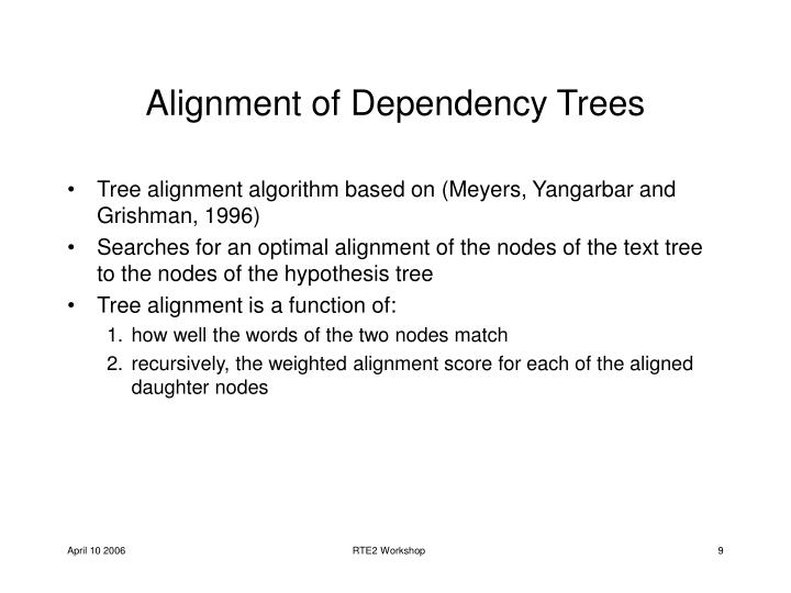 Alignment of Dependency Trees
