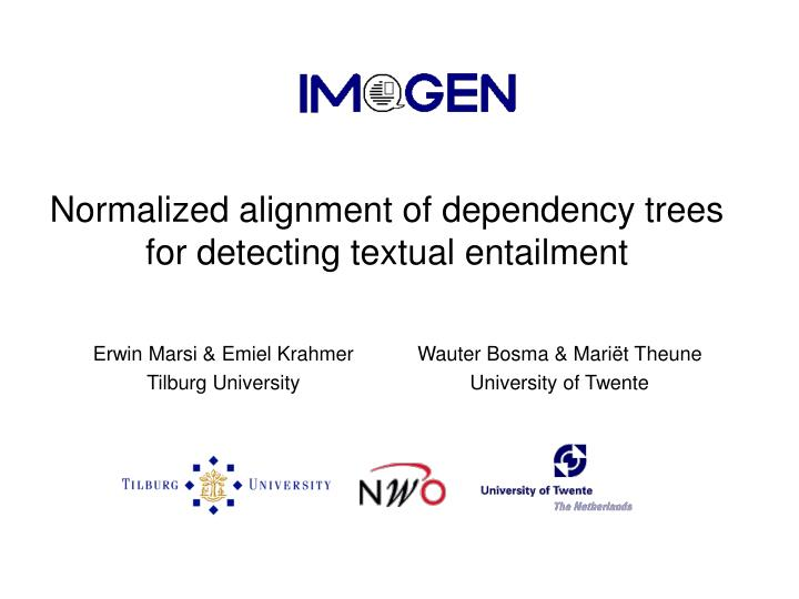 Normalized alignment of dependency trees for detecting textual entailment