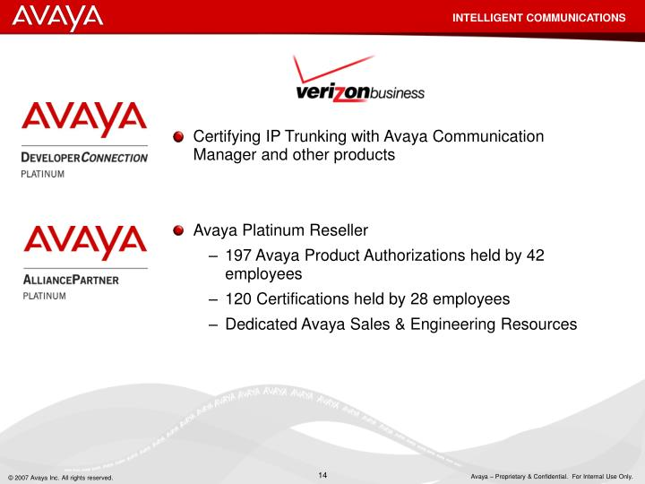 Certifying IP Trunking with Avaya Communication Manager and other products