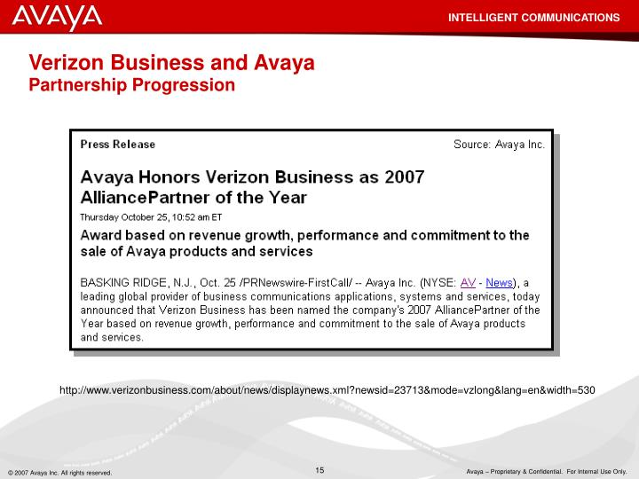 Verizon Business and Avaya