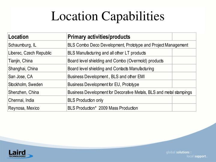 Location Capabilities