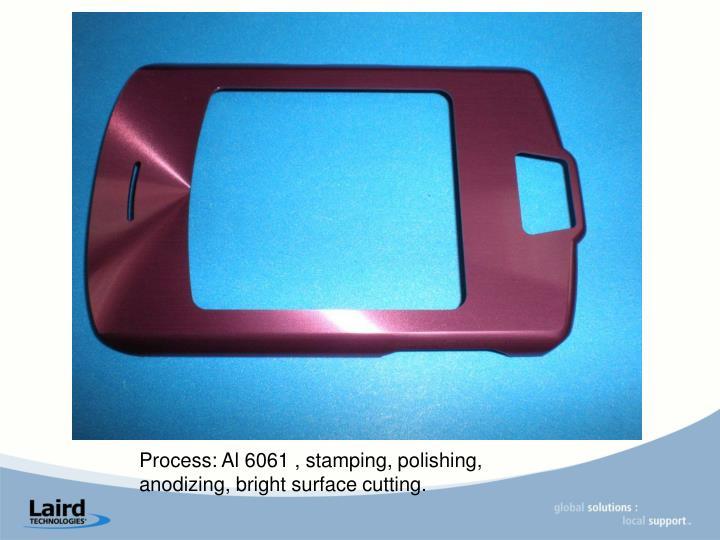Process: Al 6061 , stamping, polishing, anodizing, bright surface cutting.