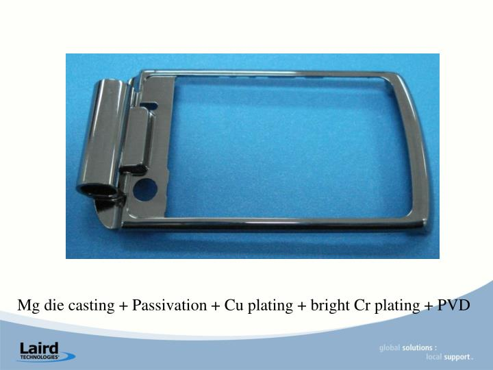 Mg die casting + Passivation + Cu plating + bright Cr plating + PVD