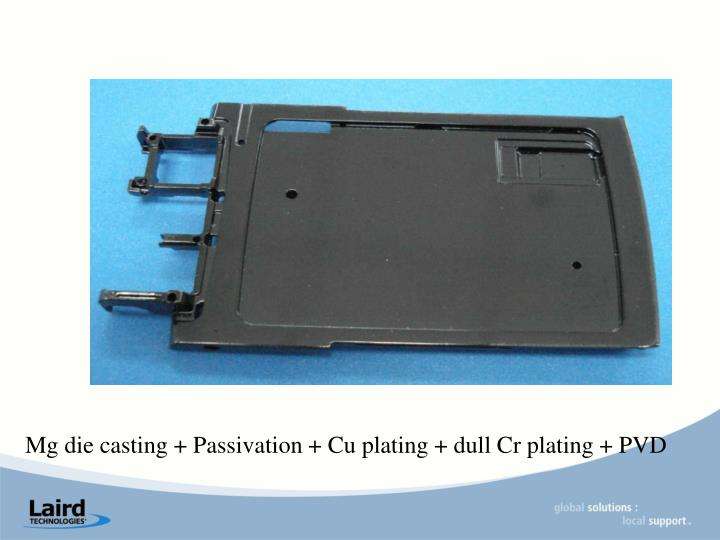 Mg die casting + Passivation + Cu plating + dull Cr plating + PVD