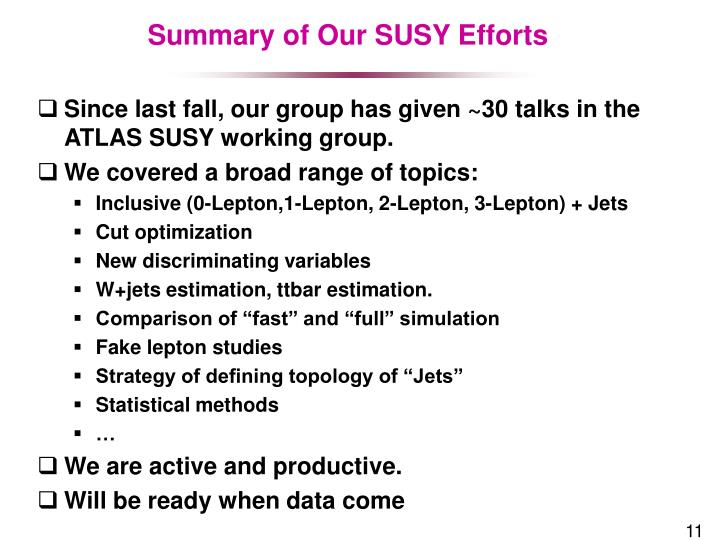 Summary of Our SUSY Efforts