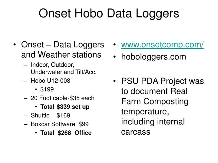 Onset – Data Loggers and Weather stations