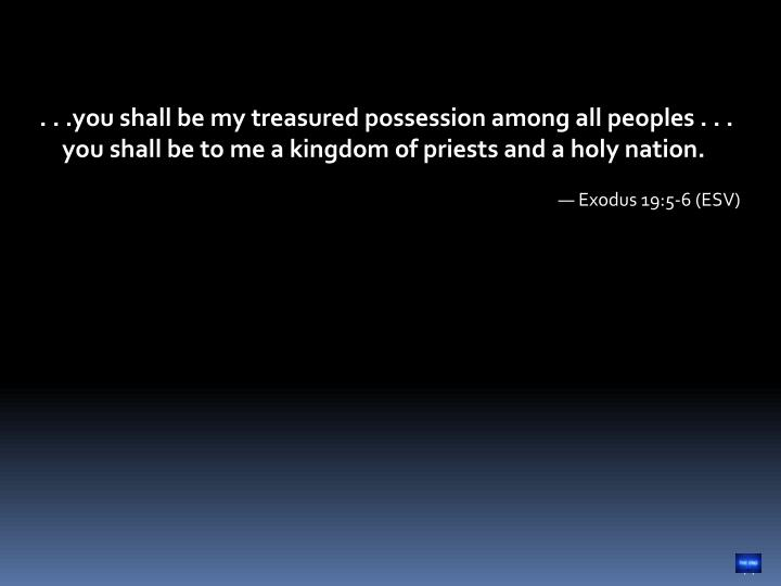 . . .you shall be my treasured possession among all peoples . . . you shall be to me a kingdom of priests and a holy nation.