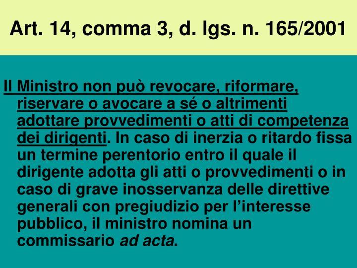 Art. 14, comma 3, d. lgs. n. 165/2001