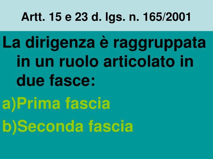 Artt. 15 e 23 d. lgs. n. 165/2001