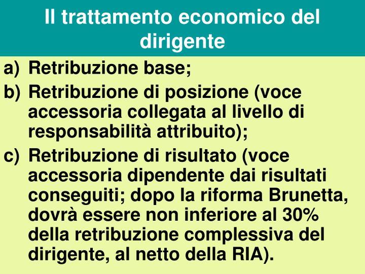Il trattamento economico del dirigente