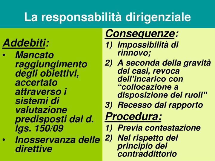 La responsabilità dirigenziale