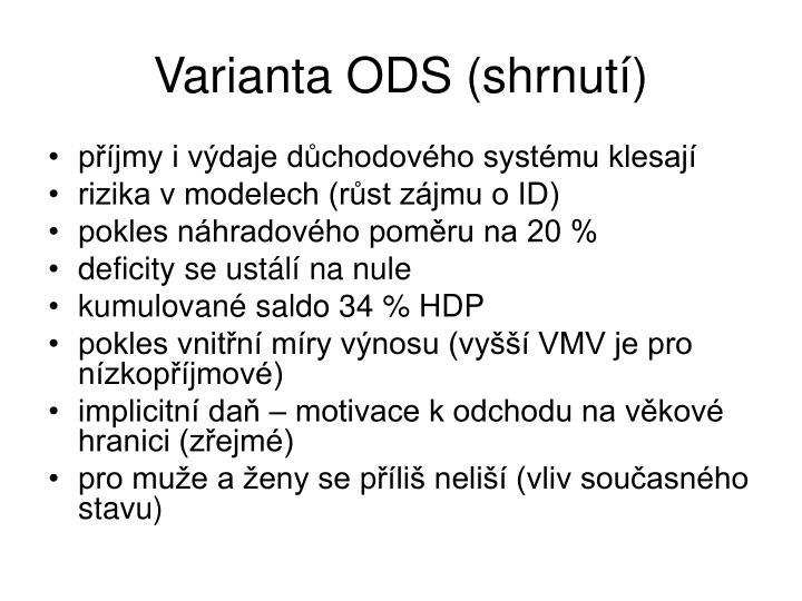 Varianta ODS (shrnutí)