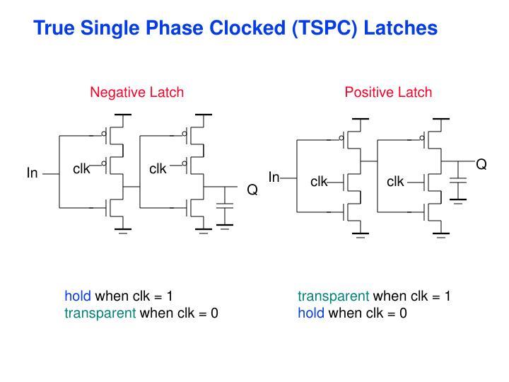 True Single Phase Clocked (TSPC) Latches
