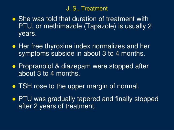 J. S., Treatment