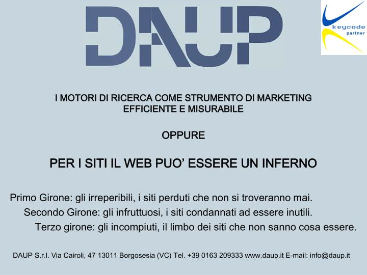 I MOTORI DI RICERCA COME STRUMENTO DI MARKETING EFFICIENTE E MISURABILE