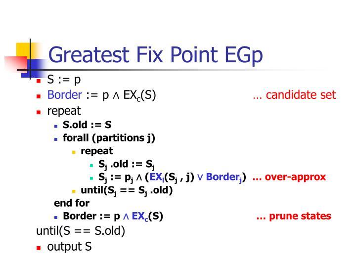 Greatest Fix Point EGp
