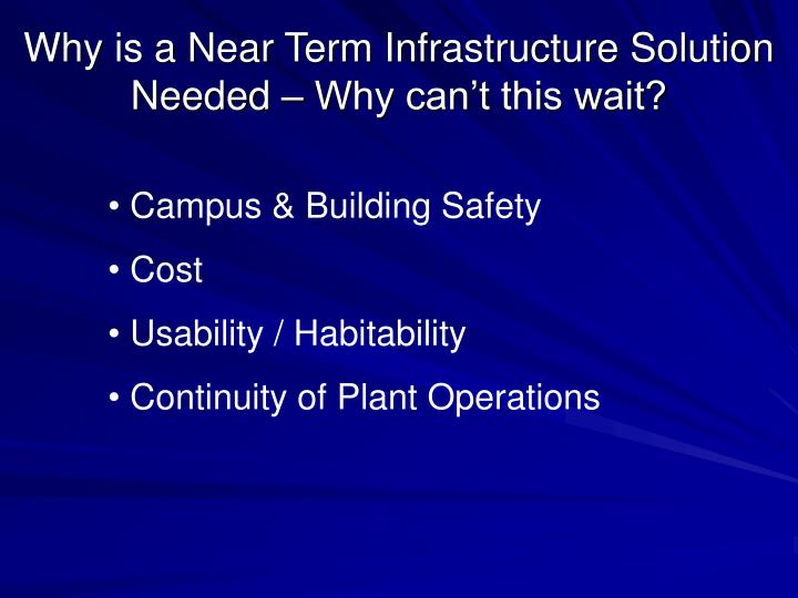 Why is a Near Term Infrastructure Solution Needed – Why can't this wait?