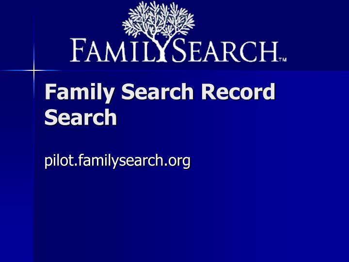 Family Search Record Search