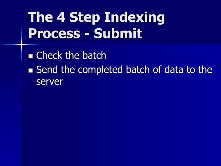 The 4 Step Indexing Process - Submit