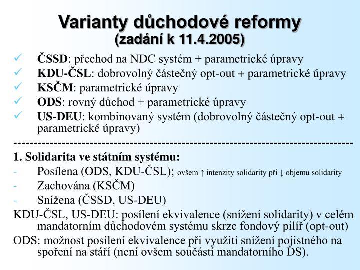 Varianty důchodové reformy