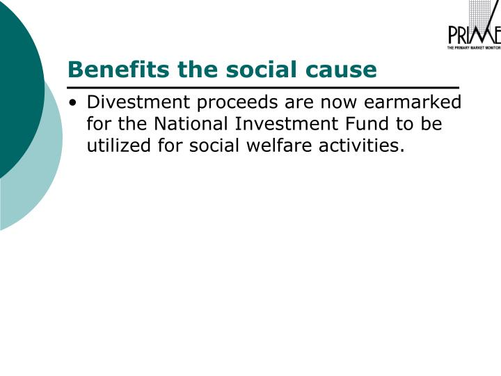 Divestment proceeds are now earmarked for the National Investment Fund to be utilized for social welfare activities.