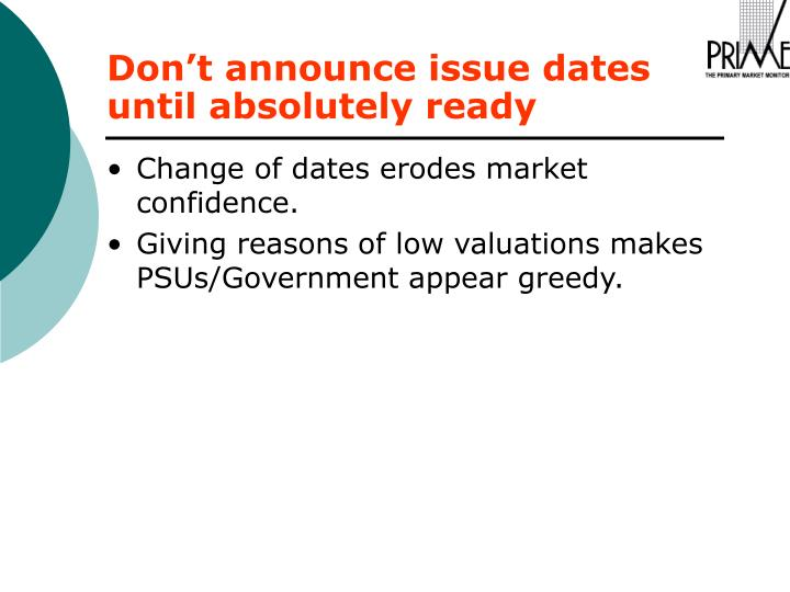 Change of dates erodes market confidence.