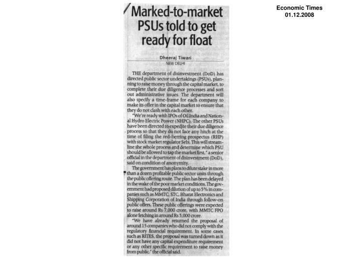 Economic Times                 01.12.2008
