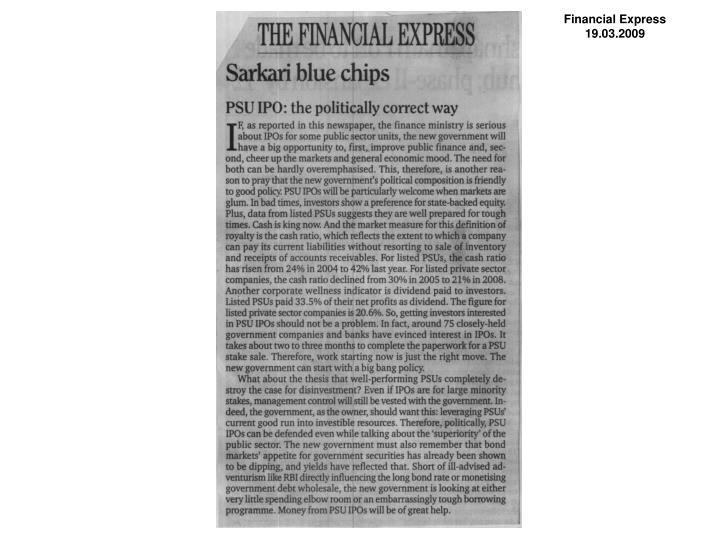 Financial Express 19.03.2009